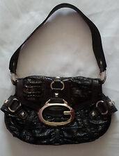 Guess Snakeskin Handbag Satchel Brown Gold Spike Studs Genuine Womens Bag