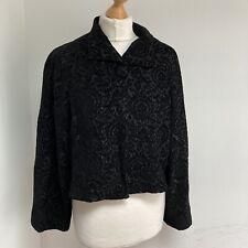 ISCHIKO OSKA Jacket Size 14 Black Damask Lagenlook 3/4 Sleeves