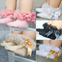 CO_ AU_ Baby Girl's Tutu Socks Bow Lace Newborn Infant Frilly Sock Short Socks S
