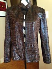 Jenni Max Jacket Size 12 Animal Print Open Front Polyester    Box 5