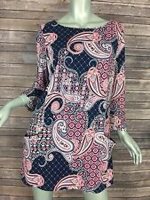 Charter Club Knit Top 3043 Womens Size XL Navy Pink Paisley Boat Neck Pockets