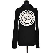 MOSCHINO CHEAP & CHIC Pull Col Baveux 46IT Noir 42FR Roue Broderie Laine Vierge