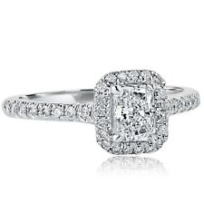 0.84Ct F-VS2 Elegant Halo Natural Radiant Diamond Engagement Ring 18k White Gold
