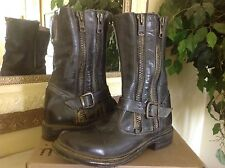 BED STU 'HUSTLE' MID-CALF LEATHER MOTO BOOT BLACK RUSTIC WOMENS 7M $275