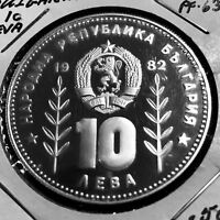 1982 BULGARIA SILVER 10 LEVA PROOF SOCCER CROWN SIZE COIN