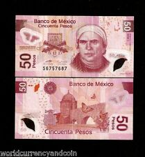 MEXICO 50 PESOS 2005 NEW BUTTERFLY POLYMER C SERIES USED MONEY CURRENCY BANKNOTE