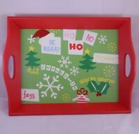 DECORATIVE WOODEN SERVING TRAY WITH HANDLES Christmas Theme Ho Ho Ho Holiday