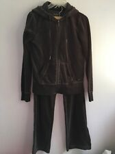 Calvin Klein Performance 2 Pc Brown Velour Tracksuit Hooded Jacket/Pants Size S