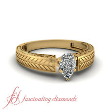 1 CARAT Solitaire Diamond Engraved Leaf Design Engagement Ring With Pear Shaped