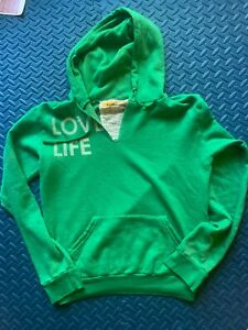 """*Vintage* Aviator Nation """"Love Life"""" Pullover Hoodie in Green/Blue Stripes-Small"""
