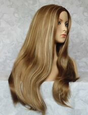 "26"" Long Straight Light Brown/Blonde Center Skin Part Full Synthetic Wig - #96"