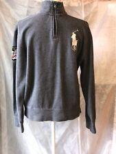 Polo Ralph Lauren Big Pony 1/2 Zip Sweater Grey Medium 1933-34 Ski Team Patch