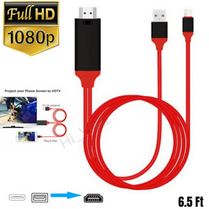1080 HDMI Mirroring AV Cable Phone to TV HDTV Adapter For iPhone 12 11 XS XR 8 7