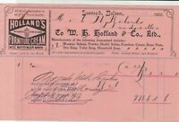 Holland & Co.Bolton 1899 Hollands Furniture Cream Adv. Dry Soap Receipt Rf 33843
