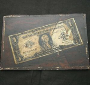 Trompe L'Oeil 1 Dollar Bill Oil on Board 1920s