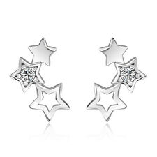 Silver tone 3 connected stars star stud earrings