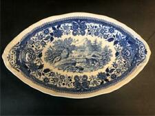 """Villeroy & Boch Burgenland Blue & White China Relish Tray 9"""" Mettlach Germany"""