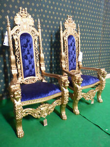 USA STOCK Scarface ® Lion King Throne Chair 178cm high  in gold with Blue velvet