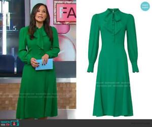 New LK Bennett  Mortimer Tie Neck Dress, Green Size UK 12