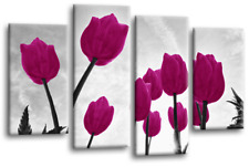 Purple Grey Floral Wall Art Canvas White Spring Flower Nature 4 Panel Picture