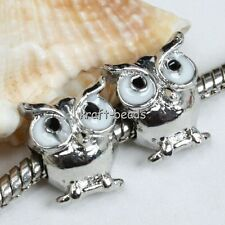 10x Silver Plated Enamel Owl Big Hole Charm European Beads Fit Bracelet Making