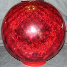 "10"" CRANBERRY DOT OPTIC BALL SHADE 4 inch glass fits old banquet, GWTW, oil lamp"