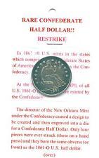 Confederate half dólares coin réplica confederados csa estados sureños Rebel