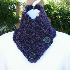 NECK WARMER SCARF Dark Purple, Black Buttons, Crochet Knit Buttoned Winter Cowl