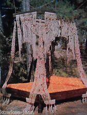 Macrame masterpieces: curtains, bed, plant hangers...  Vtg patterns - see pics