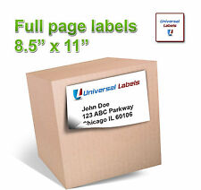 100 8.5 x 11 Full Page shipping labels - Vertical Slit on back page - Made in US
