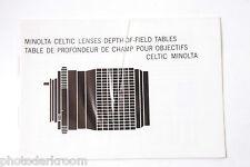Minolta Celtic Lens Guide Japan - Dof Tables Manual Book - Multi - Used B16