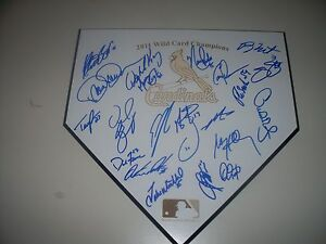 2011 St Louis Cardinals Team Signed Wild Card Champions Home Plate COA NL Champs