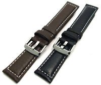 Heavy Cut XXL Padded Leather Watch Strap Contrast Stitched 18mm 20mm 22mm 24mm