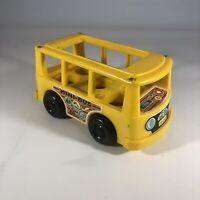 Vintage Fisher Price Mini Bus Van Little People FP Yellow Body 1969