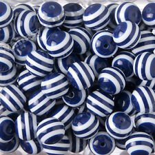 20mm  12pcs Dark Blue Striped Bubble Gum Beads Chunky Acrylic Round Gumball Bead