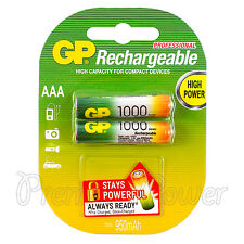 2 x GP Rechargeable AAA batteries 1000 mAh NiMH LR03 DX2400 Phone DTC Pack of 2