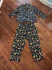 Pajama Gram mens COCKTAILS  PARTY pajamas size L POLYESTER BLACK MULTI NICE