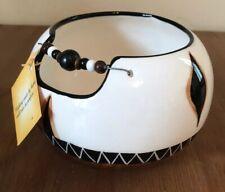 African Decorative Ceramic Bowl Pot Round With Beads Limpopo Ceramics