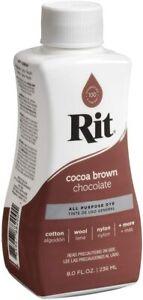 Rit Dye Liquid 8oz - All Purpose Dye - Same Day Shipping (Cocoa Brown)