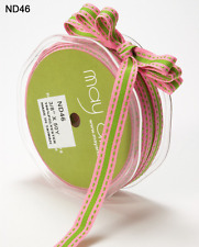 3/8 Inch GROSGRAIN/STRIPE/STITCH Ribbon - May Arts - ND46 - Pink/Green - 5 Yds.