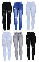 New Womens Blue High Waist Knee Cut Rip Distressed Stretch Skinny Fit Denim Jean