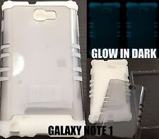 For Samsung Galaxy Note 1 i717 - HARD&SOFT RUBBER HYBRID CASE GLOWS IN THE DARK