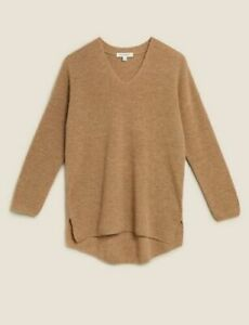 M & S AUTOGRAPH MERINO WOOL CASHMERE V NECK RELAXED JUMPER SPICE MARKS SPENCER