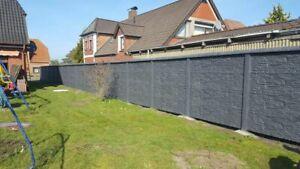 40m Betonzaun Sichtschutz einseitig Struktur Bruchstein B
