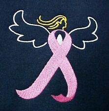 Breast Cancer Sweatshirt 4XL Awareness Embroidered Pink Ribbon Angel Navy Blue