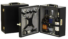 Leather 3 Bottle w/Flask Portable Travel Bar