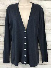 Yansi Fugel Indigo Blue Heather Soft Cotton Cardigan Sweater Size Small NEW
