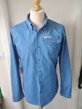 Bench Denim Shirt Top  Mens Size  XL Blue Button Down Collar Cooool!
