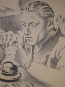 Henry MEYLAN (1895-1980) Litho PORTRAIT HOMME ARTISAN BiJOUTIER SUISSE ART DECO
