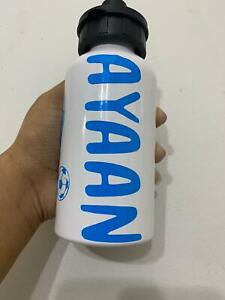 PERSONALISED sports water bottle vacuum flask name NEW with 2 stoppers